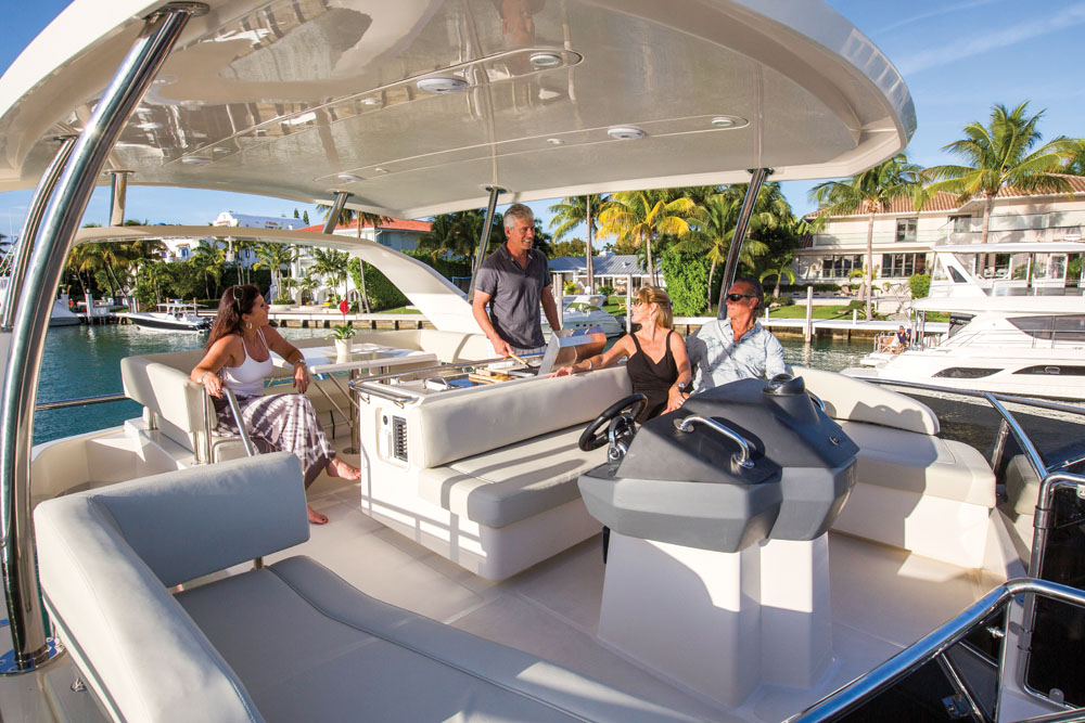 Marine Max Charter 443 lifestyle at anchor in Hurricane Harbor, Key Biscayne FL.