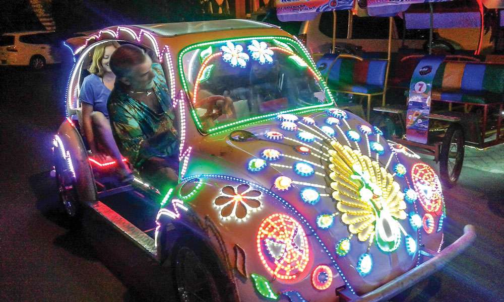 The pedal taxis in Mandano, Indonesia, are psychedelic.