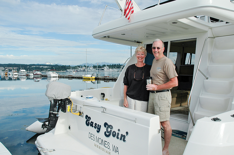 07 Author and wife enjoying the relaxed atmosphere of Port Orchard marina  copy