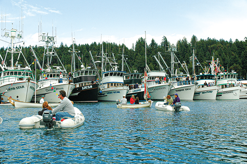 Gig Harbor - Commercial fishing fleet line up for blessing.