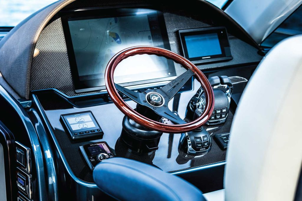 Carbon fiber is used extensively on Palm Beach GT series boats, including on the dash as shown here.