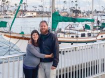 Allison Peel and Michael Springer in front of Bold Venture, off of Catalina Island